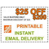 Home Depot Coupon - $25 OFF $200 In Store Only